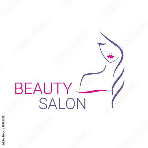 Obraz na Szkle Beautiful woman vector logo template for hair salon, beauty salon, cosmetic procedures, spa center.