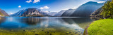 Panorama of crystal clear mountain lake in Alps - 99700007