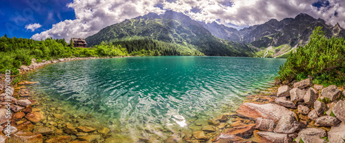 mata magnetyczna Panorama of lake in the Tatra mountains at sunrise