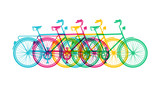Retro bike concept silhouette bicycle colorful