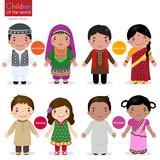 Fototapety Children of the world (Afghanistan, Bangladesh, Pakistan and Sri