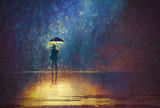 Fototapety lonely woman under umbrella lights in the dark,digital painting