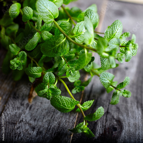 Poster Pepper mint on old wood background