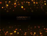 Fototapety Magic sparkle, gold dots on dark background. Vector bokeh effect.
