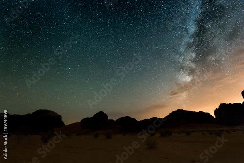 Poster Night in Wadi Rum desert. Jordan