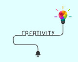 Creativity and idea concept with colorful polygonal lightbulb and wire