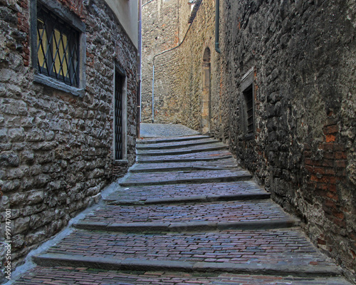 the narrow street in old city of Bergamo © babble