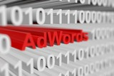 Fototapety adwords is represented as a binary code with blurred background