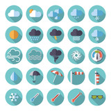 Weather flat design icon set. Collection of weather and climate related flat design vector icons - 99765855