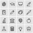 Vector line education icon set. Education Icon Object, Education Icon Picture, Education Icon Image - stock vector