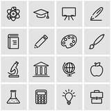 Vector line education icon set. Education Icon Object, Education Icon Picture, Education Icon Image - stock vector - 99777883