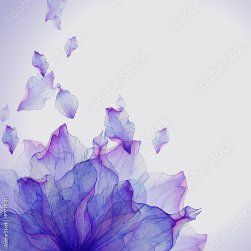 Watercolor card with Purple flower petal
