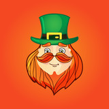 Leprechaun in top hat with mustache