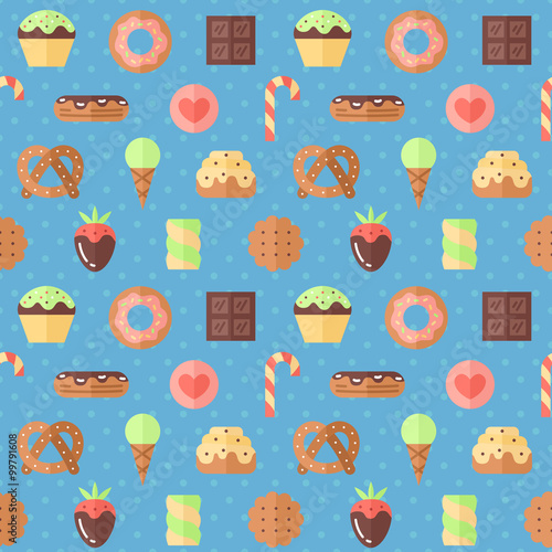Cotton fabric Sweets flat multicolored cute vector seamless pattern (blue). Modern minimalistic design.