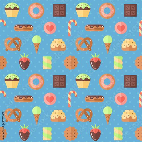Cotton fabric Sweets flat multicolored cute vector seamless pattern (blue). Modern minimalistic design.