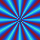 Red and Blue Pleats / A digital abstract fractal image with a radial pleated or cone design design in blue and red. - 99801662