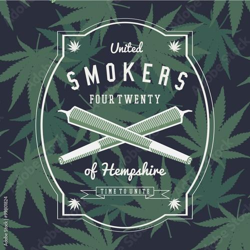 Poster Ganja Marijuana Weed Vector Badge Design Print