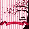 Valentine day with tree autumn and pink ribbon white pink burst background