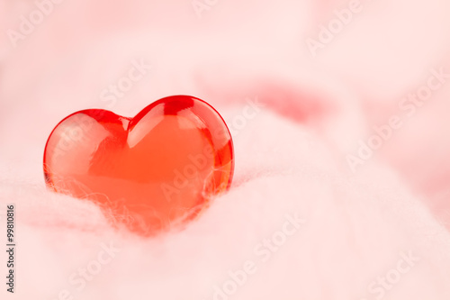 red heart on a pink background. Valentine's day © Ivan Volozhanin