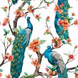 Fototapety Watercolor vector peacock pattern
