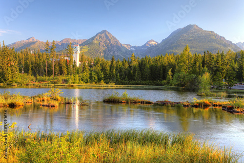 Natural mountain lake in Slovakia Tatras