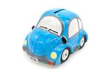 Blue Ceramic Car On White Background Isolation