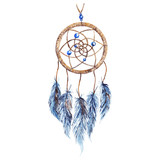 Fototapety Watercolor ethnic tribal hand made feather dreamcatcher