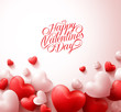 Obrazy na płótnie, fototapety, zdjęcia, fotoobrazy drukowane : Happy Valentines Day Background with 3D Realistic Red Hearts and Typography Text in White Background. Vector Illustration