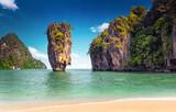 James Bond island near Phuket in Thailand. Famous landmark and famous travel destination - 99867420
