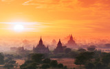 Myanmar Bagan historical site on magical sunset with beautiful sky and Buddhist temples panoramic view - 99870233