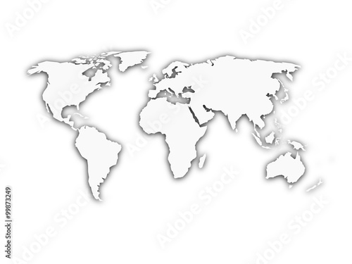 Fotobehang Wereldkaarten White world map with shadow silhouette