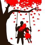 Fototapety swinging on the swing in love