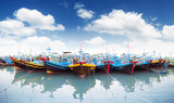 Panoramic view of boats in Phan Tiet in Vietnam, Binh Thuan province - 99874888