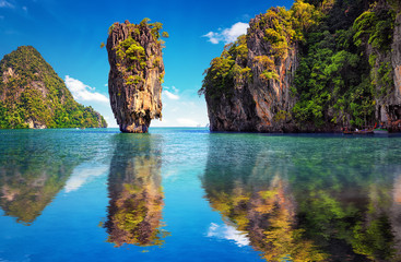 Beautiful nature of Thailand. James Bond island reflects in water near Phuket