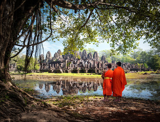 Buddhist monks near Angkor Wat temples in Cambodia
