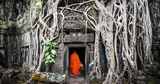 Monk in Angkor Wat Cambodia. Ta Prohm Khmer ancient Buddhist temple in jungle forest - 99876228