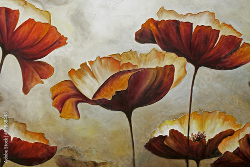 Painting poppies with texture - 99888448