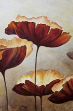 "Постер, картина, фотообои ""Vertical painting canvas of poppies"""
