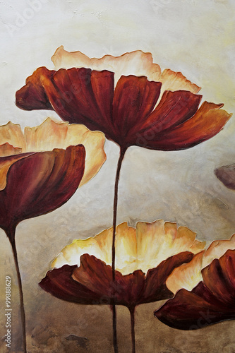 Vertical painting canvas of poppies - 99888629