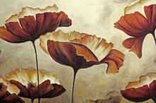 "Постер, картина, фотообои ""Painting poppies with texture"""