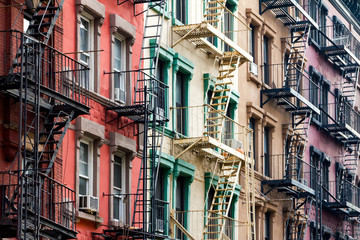 Colored Apartment Buildings in New York City