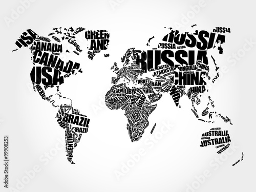 fototapeta na ścianę World Map in Typography word cloud concept, names of countries