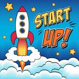 Komiksowa startująca rakieta w stylu pop art
