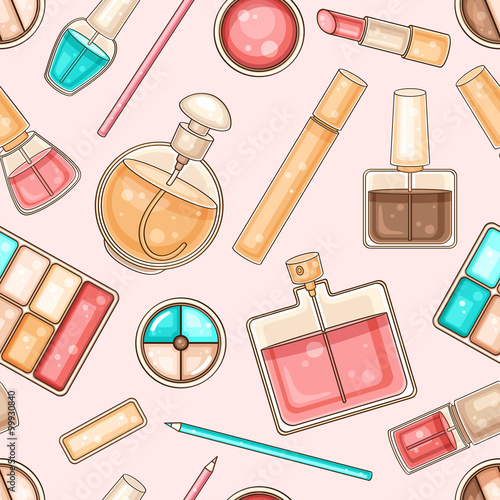 Cotton fabric Seamless pattern with woman's make up tools and cosmetics