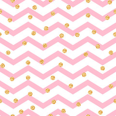 Chevron zigzag pink and white seamless pattern with golden shimmer polka dots. Vector geometric monochrome stripe with glitter spots.