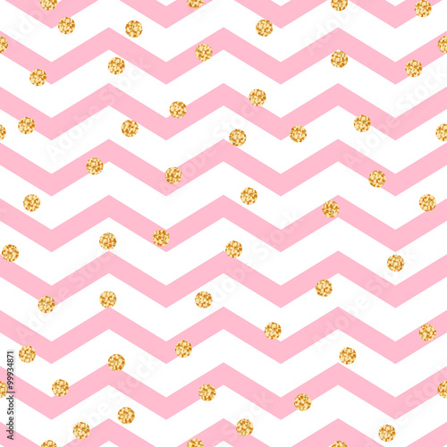Materiał do szycia Chevron zigzag pink and white seamless pattern with golden shimmer polka dots. Vector geometric monochrome stripe with glitter spots.