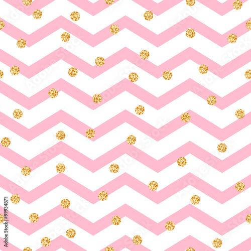 Stoffe zum Nähen Chevron Zickzack rosa und weißen Musterdesign mit Goldschimmer Polka Dots. Vektor geometrische monochrome Streifen mit Glitzer Flecken.