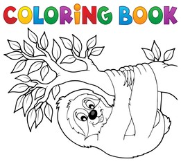 Coloring book sloth on branch