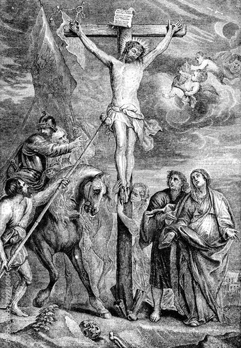 Zdjęcia na płótnie, fototapety, obrazy : An engraved illustration image of  The Crucifixion of Jesus Christ  from a Victorian Bible dated 1883 that is no longer in copyright
