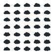 Big vector set of thirty-five black cloud  shapes - 99942835